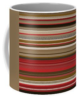 Coffee Mug featuring the digital art Random Stripes - Red Accents by Val Arie