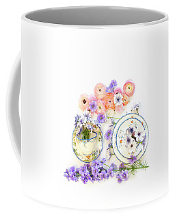 Ranunculus And Daisies With Vintage Tea Cups Coffee Mug
