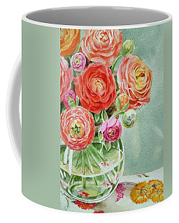 Ranunculus In The Glass Vase Coffee Mug