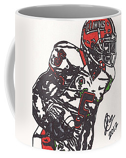 Coffee Mug featuring the drawing Rashard Mendenhall 1 by Jeremiah Colley