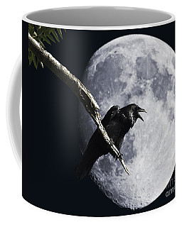 Raven Barking At The Moon Coffee Mug