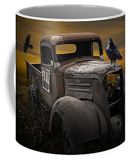 Raven Hood Ornament On Old Vintage Chevy Pickup Truck Coffee Mug