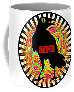 Raven Spooky Bird Mandala Coffee Mug by Peter Gumaer Ogden