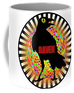 Coffee Mug featuring the digital art Raven Spooky Bird Mandala by Peter Gumaer Ogden