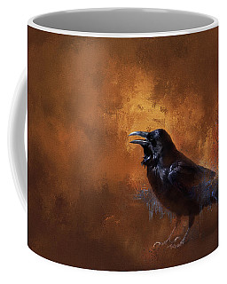 Coffee Mug featuring the painting Raven by Theresa Tahara
