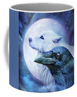 Coffee Mug featuring the mixed media Raven Wolf Moon by Carol Cavalaris