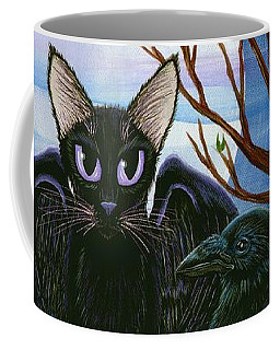 Raven's Moon Black Cat Crow Coffee Mug