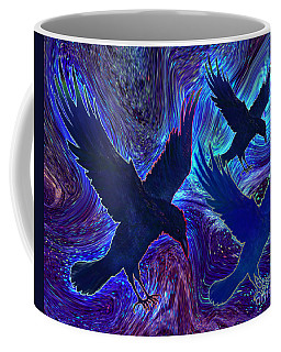 Coffee Mug featuring the painting Ravens On Blue by Teresa Ascone