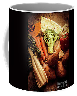 Raw Vegetables On Wooden Background Coffee Mug