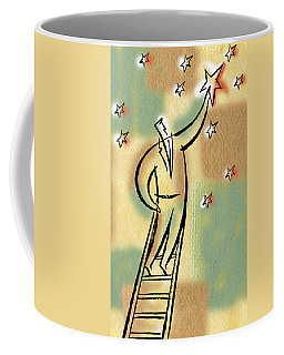 Coffee Mug featuring the painting Reaching For The Star by Leon Zernitsky