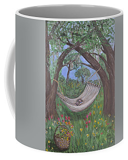 Coffee Mug featuring the painting Reading Time by Debbie Baker