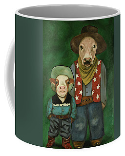 Coffee Mug featuring the painting Real Cowboys 3 by Leah Saulnier The Painting Maniac