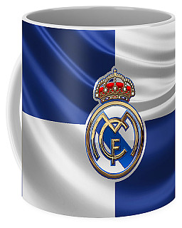 Real Madrid C F - 3 D Badge Over Flag Coffee Mug by Serge Averbukh