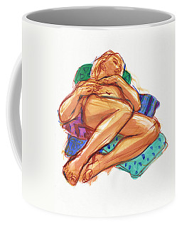 Coffee Mug featuring the painting Reclining On Cushions by Judith Kunzle