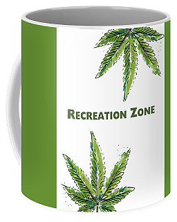 Coffee Mug featuring the mixed media Recreation Zone Sign- Art By Linda Woods by Linda Woods