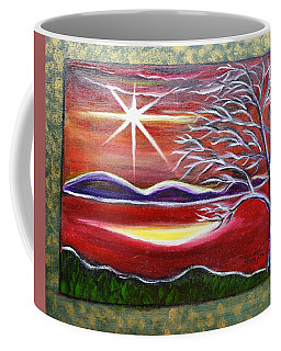Red Abstract Landscape With Gold Embossed Sides Coffee Mug