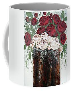 Red And Antique White Roses - Original Artwork Coffee Mug