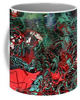 Red And Black Turquoise Drip Abstract Coffee Mug by Genevieve Esson