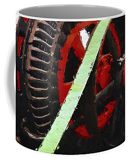 Coffee Mug featuring the painting Red And Black Wheel by Joan Reese