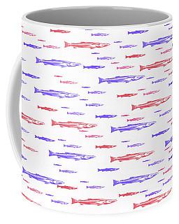 Red And Blue Fish Pattern Coffee Mug