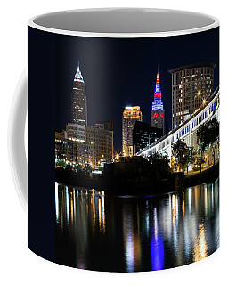 Coffee Mug featuring the photograph Red And Blue In Cleveland by Dale Kincaid