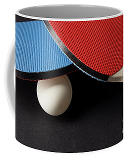 Red And Blue Ping Pong Paddles - Closeup On Black Coffee Mug