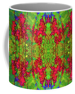 Coffee Mug featuring the digital art Red And Green Floral Abstract by Linda Phelps
