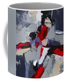 Coffee Mug featuring the painting Red And Grey Abstract By Elise Palmigiani by Elise Palmigiani