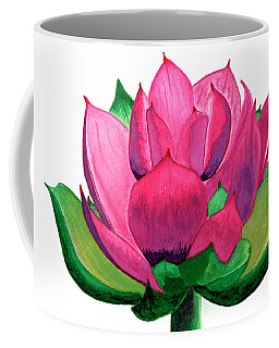 Red And Pink Lotus Floral Watercolor Painting 619 Coffee Mug