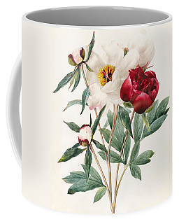 Red And White Herbaceous Peonies Coffee Mug