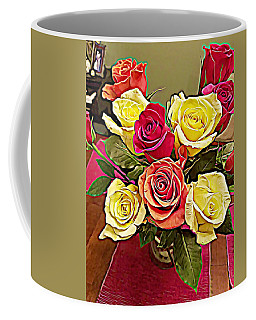 Red And Yellow Rose Bouquet Coffee Mug