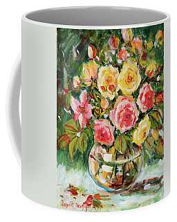 Red And Yellow Roses Coffee Mug by Alexandra Maria Ethlyn Cheshire