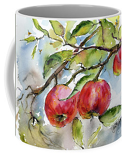 Red Apples And Bees Tree Branch Coffee Mug