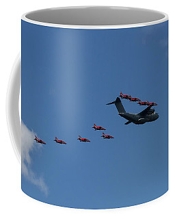 Red Arrows And A400m Formation Coffee Mug by Shirley Mitchell