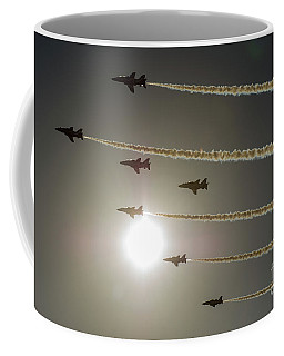 Coffee Mug featuring the photograph Red Arrows Backlit Arrival  by Gary Eason
