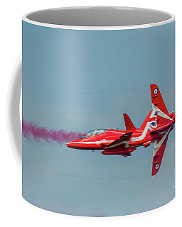 Coffee Mug featuring the photograph Red Arrows Crossover by Gary Eason