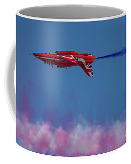 Coffee Mug featuring the photograph Red Arrows Hawk Inverted  by Gary Eason