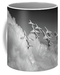 Coffee Mug featuring the photograph Red Arrows Sky High Bw Version by Gary Eason