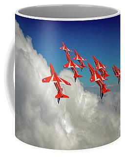 Coffee Mug featuring the photograph Red Arrows Sky High by Gary Eason