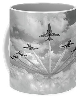 Coffee Mug featuring the photograph Red Arrows Smoke On Bw Version by Gary Eason