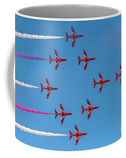 Coffee Mug featuring the photograph Red Arrows Typhoon Formation by Gary Eason