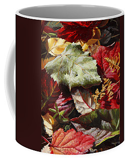 Coffee Mug featuring the painting Red Autumn - Wasilla Leaves by Karen Whitworth