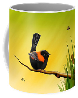 Coffee Mug featuring the digital art Red Backed Fairy Wren by John Wills