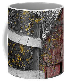 Red Barn And Forsythia Coffee Mug