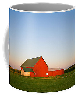 Red Barn And The Moon Coffee Mug by Alexey Stiop