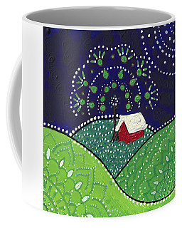 Red Barn At Night Coffee Mug