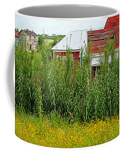 Red Barn Dance Hall Black Eyed Susans - Abandoned Town Coffee Mug by Rebecca Korpita