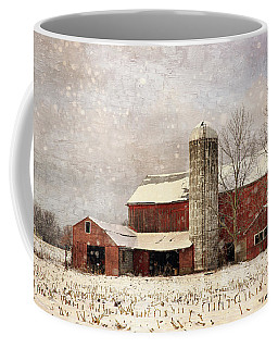 Red Barn In Winter Coffee Mug