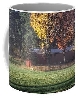 0041 - Red Barn On A Foggy Fall Morning Coffee Mug