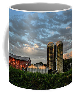 Red Barn Shadows And Clouds Coffee Mug